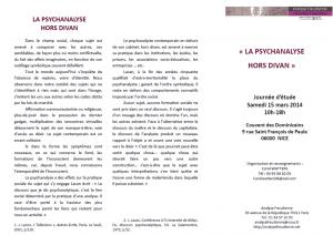 La Psychanalyse hors-divan, Chantal Cazzadori