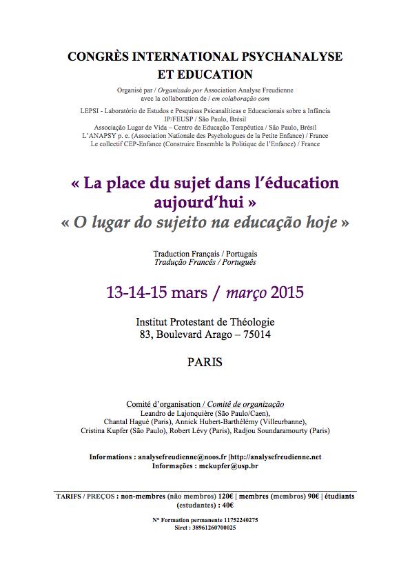 """Affiche du congrès """"la place du sujet dans l'éducation aujourd'hui"""