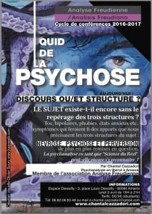 """Affiche conférence Chantal Cazzadori """"la Psychose"""""""